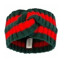 GUCCI STRIPE Pure Wool Knit Knitted Headwrap Headband Warmer Head Hair Band