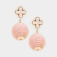 Pink Quatrefoil Clover Druzy Stone Thread Ball Drop Earrings
