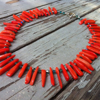 red coral and teal crystal beaded necklace choker with sterling silver toggle