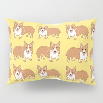 Happy Corgi Pattern Pillow Sham by Artist Abigail