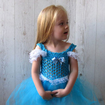 Cinderella girls crochet  tutu dress, flower girl dress , Halloween costume, Birthday party dress with crochet flower detail, Ballgown Dress
