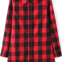 Red Long Sleeve Plaid Pointed Flat Collar Blouse