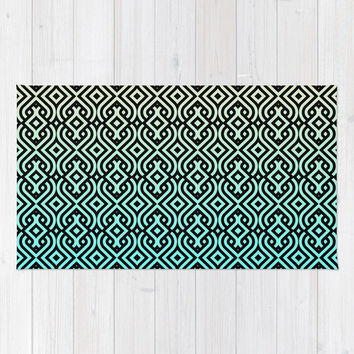 Custom made accent area Rug, choice of multiple sizes.chevron oriental arabic motoccan motive pattern design. turquoise, mint green blue