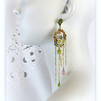 Peridot Green Lavender flower rhinestone Dangle Earrings with vintage enamel flowers & rhinestones