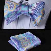 BF4012B Blue Yellow Paisley Classic 100%Silk Jacquard Woven Men Self Bow Tie BowTie Pocket Square Handkerchief Suit Set