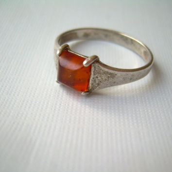 Antique Russian Baltic Amber Ring Size 8.25-Vintage Sterling Silver-Mens Womens Jewelry-Gifts For Her Him-Red Bronze Orange