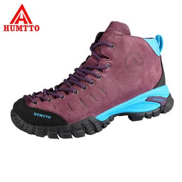 HUMTTO Women's Hiking Shoes Genuine Leather Outdoor Shoes Waterproof Climbing Shoes Hard-Wearing Thermal Boots Mountain Sneakers