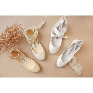 The Wedding Shoes | Custom Bridal Ballet Flats | Choice of Ivory, White or Pearl | Made to Order