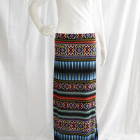 Tribal Maxi Skirt/ Long A Line Skirt/ Casual Maxi/ Custom Maxi Skirt/ Boho Clothing/ Neon Tribal