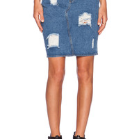 The Fifth Label I'm Not Here Denim Skirt in Classic Blue Denim