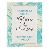 Welcome to our Wedding Turquoise Marble Design Poster