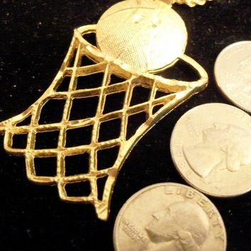 bling gold plated basketball net hoop sport pendant charm rope chain hip hop trendy fashion sports necklace jewelry