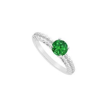 Emerald and Diamond Engagement Ring : 14K White Gold - 0.75 CT TGW