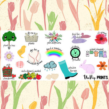 Spring Bucket List, Planner Stickers, Bucket List Stickers, To Do Stickers, holiday stickers, fun stickers, seasonal stickers (#0182)