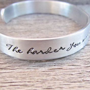 Bracelet The Harder You Work The Luckier You Get Hand Stamped Jewelry Cuff Personalized Quote Custom NEW Font Cursive Achievement Gift