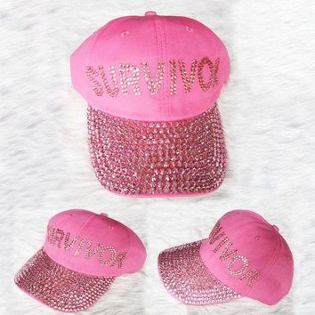 ONETOW 2016 New PINK Survuvor Letters Diamond Point denim snapback caps women baseball cap girls Hat rhinestone hat For Men Teens