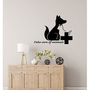 Vinyl Wall Decal Take Care Of Animals Quote Veterinary Clinic Logo Stickers (4044ig)