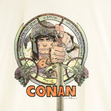 1984 CONAN shirt - vintage 1980s - 80s - michael kaluta - conan the barbarian - arnold schwarzenegger movie - comic tee