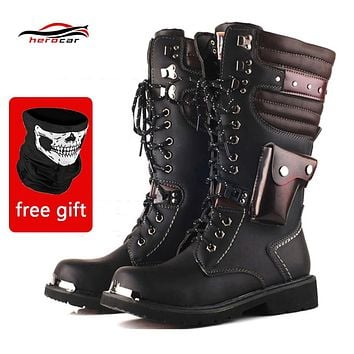 Men's Motorcycle Boots Motorbike Artificial Leather Punk Dr Martin Style Shoes