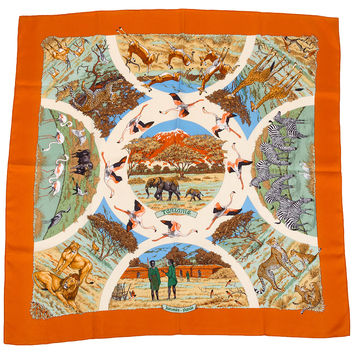 Hermès Orange Silk Anzanie Scarf Dallet