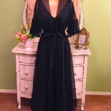 Romantic Chiffon Nightgown Set, Black Peignoir Set, Elegant Bridal Lingerie, Hollywood Glam, Sheer Ruffle Robe, Wedding Nightwear, Sz L XL