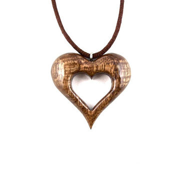 Heart Necklace, Wooden Heart Pendant, Wood Heart Necklace, Hand Carved Pendant, 5th Anniversary Gift, Valentine's Day Gift, Heart Jewelry