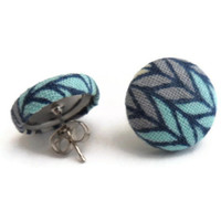 Light Blue and Lavender Herringbone Fabric Button Earrings, 88