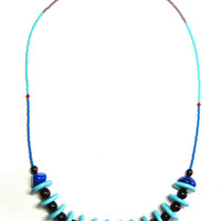 Tribal Inspired Turquoise Bohemian Necklace - Turquoise Necklace - Beaded Boho Necklace