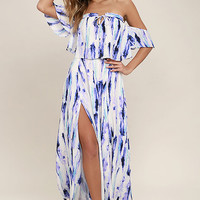 Ingenue Purple Print Two-Piece Maxi Dress