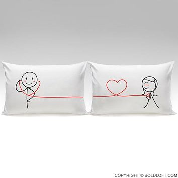 My Heart Beats For You™ His & Hers Matching Couple Pillow Case Set,Cute Couples Gifts for Him for Boyfriend,Valentines Day,Birthday,Anniversary,Christmas Gifts