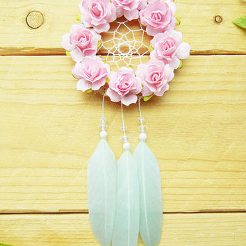 Pink & Mint Flower Dreamcatcher: Interior Car Accessory For Women, Car Dreamcatcher, Rearview Mirror Accessory, Boho Dreamcatcher, Car Decor