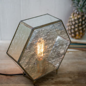 Table Lamp with Antique Glass