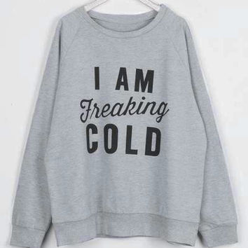 Cupshe I Am Freaking Cold Letter Printing T-shirt