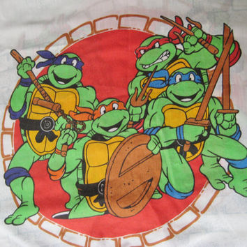Vintage Teenage Mutant Ninja Turtle TWIN Flat Bed Sheet Kids Bedding Girl Boy Bedding 1990 TMNT Bedding Craft Fabric Clean USED
