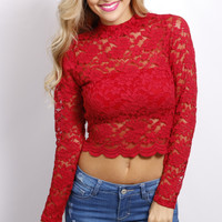 High Rise Lace Crop Top: Red