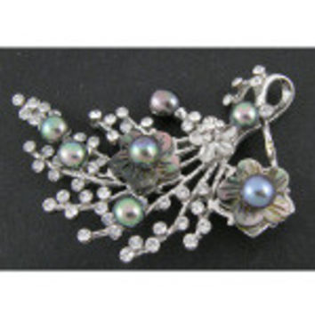 Bouquet Brooch with Rhinestone  Carved Shell & Freshwater Pearls