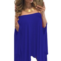 Chicloth Blue Strapless Asymmetric Drape Club Dress