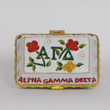 Alpha Gamma Delta 24k Gold Plated, Officially Licensed Cloisonne Box