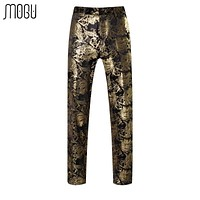 MOGU Gold Floral Men's Pants 2017 Spring New Arrival Fashion Printed Men's Trousers Slim Fit High Quality Asian Size Pants Men