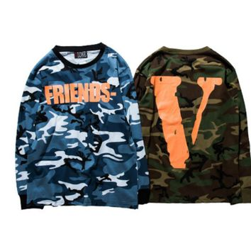 ca kuyou High Quality Men VLONE Long sleeves T-Shirts Friends V Print Camouflage