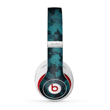 The Teal Vector Camo Skin for the Beats by Dre Studio (2013+ Version) Headphones