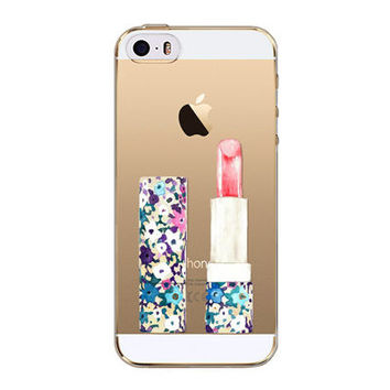 Luxury Lip Stick Transparent Soft Silicone Phone Back Cover Case For iPhone 5 5S SE