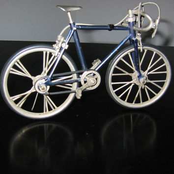 Mid Century Modern Blue Metal Bicycle Folk Art Sculpture