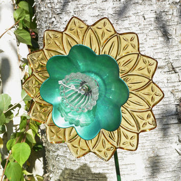 Flower Art, Floral Decor, Gardener Gift, Yellow and Green, Faux Flower, Floral Art, Farmhouse Decor, Garden Accessories
