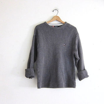 vintage dark gray sweater. slouchy sweater. cotton pullover. boyfriend sweater