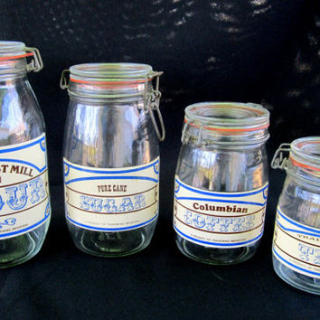 Tradewind Importers Glass Canister Jars Set of 4 Vintage Country Rustic Kitchen Decor