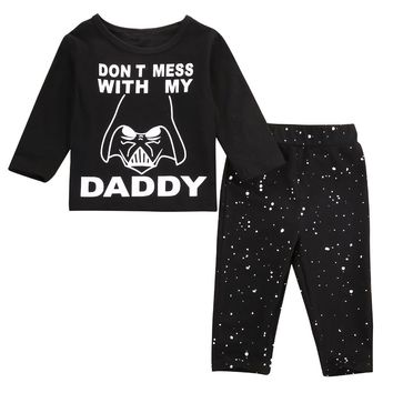 New Fashion Star Wars Newborn 6 12 18 24 Months Tops Shirt Pants Casual All Seasons Set Baby Boy Clothes Outfit
