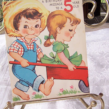 Vintage Original Childs Birthday Card, Scrapbooking Craft Supply, Paper Ephemera, Paper Craft Material, Vintage Greeting Birthday Card
