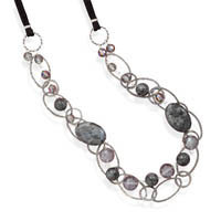Double Strand Labradorite and Crystal Necklace