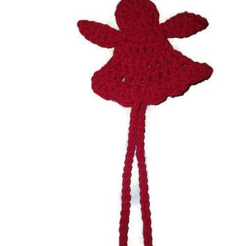 Christmas Angel Crochet Bookmark Red Orange White Beige With Gold Free Shipping Stocking Stuffer